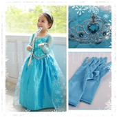 Panoplie Compl�te Princesse Ensemble Lot Pack Costume D�guisement Enfant Elsa Reine Des Neiges Robe Bleue Gants Couronne Diad�me Tiare Paillettes Strass Flocons Anniversaire Spectacle F�te Cosplay