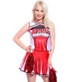 Debardeur Jupon Jupe Xs(26-28) Avec Pom-Pom Pom Pom Girl Cheer Leaders 2 Pieces Costume Deguisement Rouge Neuf Cadeau Noel Halloween Carnaval Ecole Costume Deguisement Wmhs Glee High School
