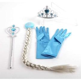Lot De 4 Accessoires Elsa : Gants Bleu + Diad�me Elsa + Baguette + Natte Pour D�guisement Elsa Costume La Reine Des Neiges Cosplay Look Princess Kawaii Envoie Imm�diate Bonne Qualit�
