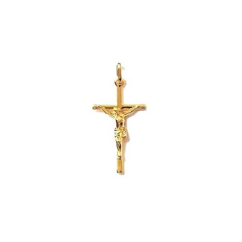 CHAINE au choix PENDENTIF GRANDE CROIX catholique Plaqué OR NEUF
