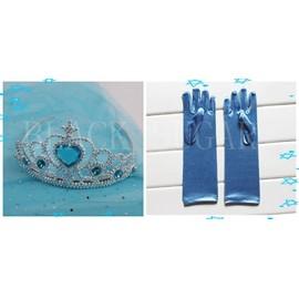 Gants Bleu Elsa + Couronne Accessoires Enfant D�guisement La Reine Des Neiges Cosplay Look Princesse Pour F�te Anniversaires Sortie Envoie Imm�diat