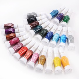 Lot PRO 24 Vernis A ongles nacre deco nail tip gel 2 usage pinceau stylo