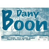 Ticket Du Spectacle De Dany Boon Du 26 Novembre 1996 � Chalon Sur Sa�ne