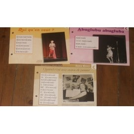 lot de 3 fiches chansons atlas ANNIE CORDY : quand c'est aux autos de passer , abuglubu abugluba , qui qu'en veut ?