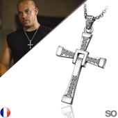 Collier + Pendentif Fast And Furious Croix Diamant Vin Diesel Dominic Toretto