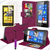 Nokia Lumia 920: Lot Coque Etui Housse Pochette Accessoires Portefeuille Support Video + 3 Films Transparent + 1 Mini Stylet - Violet
