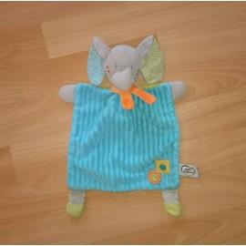 Doudou Elephant Mots D'enfants Plat Bleu Vert Mots Denfants Pomme Champignon Elephant Gris Peluche Enfant Bebe