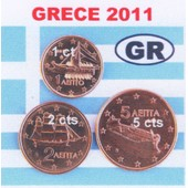 S�rie 1-2-5 Cents D'euro Grece 2011