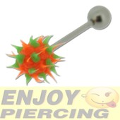 Piercing Langue Acier Chirurgical Virus Silicone Orange Et Vert