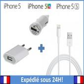 Lot: Chargeur Voiture + Chargeur Secteur + C�ble Usb Chargement Et Synchronisation Pour Iphone 5/5s/5c (Garantie 6 Mois)