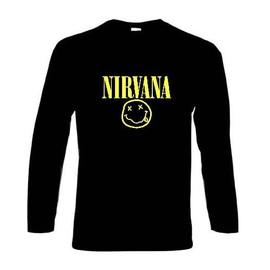 T-shirt Manches Longues Nirvana Smiley. Kurt Cobain, Musique Grunge, Punk