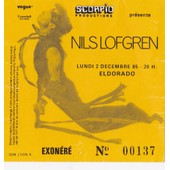 Ticket Billet Place Concert Used Nils Lofgren 1985 Paris Guitariste De Springsteen & Neil Young