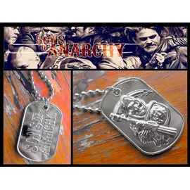 Collier Pendentif + Chaine - Mort / Sons Of Anarchy - Style Plaque Militaire - Biker Harley West Coast Choppers Hard Rock - M�tal Chrom�