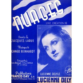 nuages (django reinhardt) / Partition originale grand format 24x32cm, Piano et chant / Lucienne Delyle