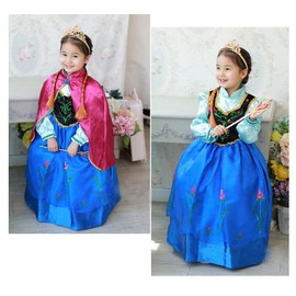 Costume D�guisement Anna La Reine Des Neiges Robe + Cape Frozen Personnage Princesse