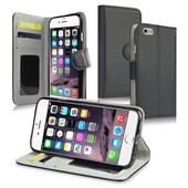 Apple Iphone 6: Etui Portefeuille Livre Housse Coque Pochette Support Vid�o Cuir Pu Noir