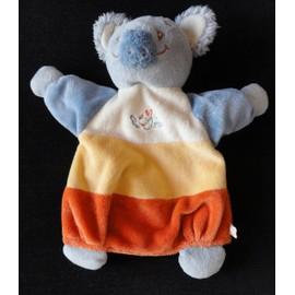 Doudou Marionnette Koala Orange Bleu �cru Noukie's