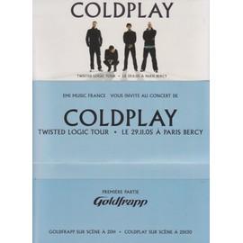 COLDPLAY enveloppe d'invitation concert TWISTED LOGIC TOUR 29/11/2005 PARIS Bercy