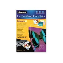 Fellowes Laminating Pouches Enhance 80 Micron - 80 Microns Pack De 100 - Brillant - A4 (210 X 297 Mm) Pochettes Plastifi�es