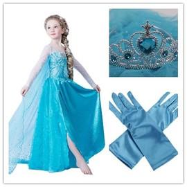 Pack D�guisement Complet Costume Elsa Reine Des Neiges Frozen Princesse Robe Gants Diad�me Couronne Enfant Grande Taille Soir�e F�te Anniversaire Carnaval Mardi Gras Envoi Rapide
