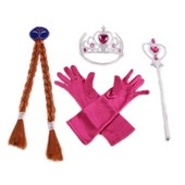 Ensemble Pack Royalement Complet D�guisement Costume Anna Elsa Reine Des Neiges Gants Couronne Diad�me Barrette Perruque Natte Baguette Magique Sceptre Royal Princesse F�e Spectacle Anniversaire F�te