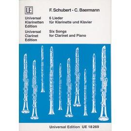 6 Lieder für Klarinette und Klavier / Lieder arr. pour clarinette en sib et piano / rév. Pamela Weston Partition - Clarinette et Piano