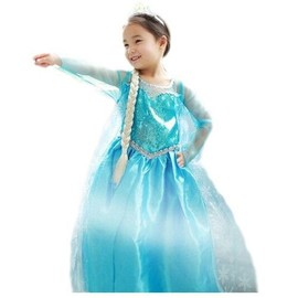 Robe Bleue Reine Des Neiges Elsa Look Princesse Strass Paillettes Flocons Cape Tra�ne D�guisement Costume Enfant Spectacle Anniversaire Carnaval Mardi Gras Cosplay Film Envoi Rapide