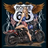 T-Shirt Homme Manches Courtes - Moto Route 66 Pin Up - 11001