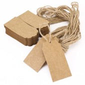 100x �tiquette En Kraft Cartonn� Avec Cordon Chanvre Rectangulaire 9,5x4,5cm