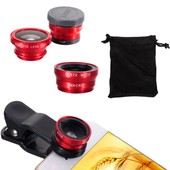 Fisheye Wide Super HD Macro Cell Mobile Phone Camera Photo Lens For iPhone Red