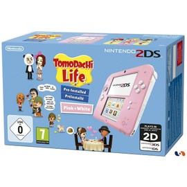 Image Console Nintendo 2ds Rose Et Blanc Pack Tomodachi Life