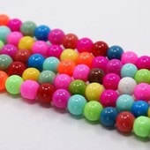 50 Perles En Verre Multicolores 6mm