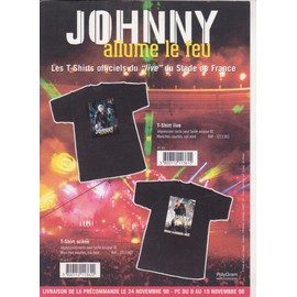 Johnny HALLYDAY Argumentaire Disquaires JOHNNY ALLUME LE FEU les T-shirts novembre 1998 RECTO
