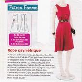 Patron Couture Modes Et Travaux N� 383927 Robe Asym�trique En Satin, Taiilles 36, 38, 40, 42, 44, 46, 48, Longueur De La Robe En Taille 40 : 1m