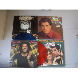 JOHN TRAVOLTA BEE GEES LILY TOMLIN : LOT DE 8 LP 33T + Poster : Sandy , 2x lp Grease , whenever i'm away from you , 2 x lp Travolta fever couleur ,2 x lp Saturday night fever + Poster