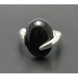 R000417 Bague En Argent Massif 925 Onyx Noir