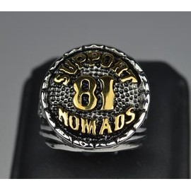 Bague Chevaliere Bikers Hell's Angels Outlaw Nomads Support 81 Harley