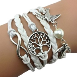 Bracelet Infini Colombes Blanc Perles Arbre De Vie Infinity Karma