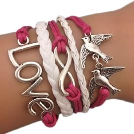 Bracelet Infini Colombes Infinity Karma Love Rouge Et Blanc Br�silien