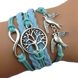 Bracelet Infini Colombes Bleu Cieu Abre De Vie Karma Multibrins