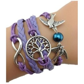Bracelet Infini Colombes Infinity Arbre De Vie Violet Karma