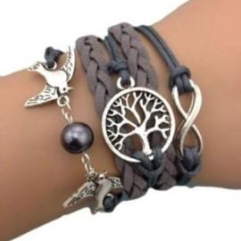 Bracelet Infini Colombes Infinity Arbre De Vie Gris Karma