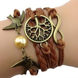 Bracelet Infinity Infini Br�silien Karma Arbre De Vie Oiseaux Perles