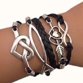 Bracelet Infinity Infini C�Ur Noir Kamra Hunger Games Fleche Noir