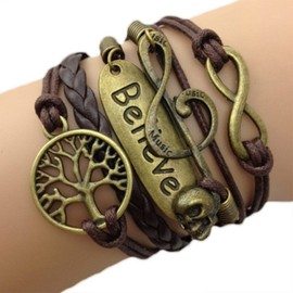 Bracelet Infini Infinity Arbre De Vie Karma Believe