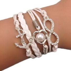 Bracelet Infini Brillants Strass Coeur Ancre Karma Blanc