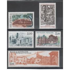 Série touristique Filitosa, Loches, St Germain de Livet , Châlons sur Marne, Monpazier année 1986 n° 2401 à 2405