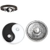 Bouton Pression �mail Et Strass Motif Yin Yang Pour Bracelet Et Bijou Pression Personnalis� Interchangeable 20mm