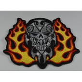 Patch Thermocollant Bikers Skul Flamme