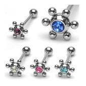 Lot De 5 Piercing Langue Strass Virus Acier Pierceur Grossiste Bijoux Revendeur